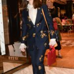 Jenna Coleman in a Dark Blue Floral Suit Leaves a Gucci Party in London