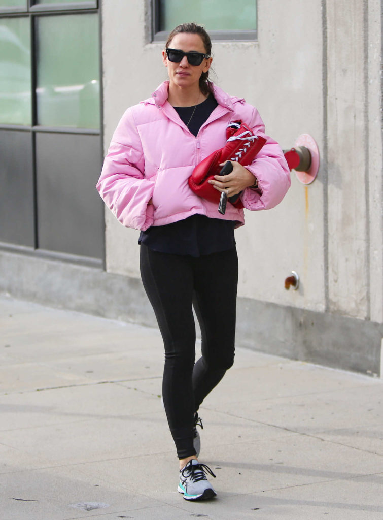 Jennifer Garner in a Pink Puffer Jacket