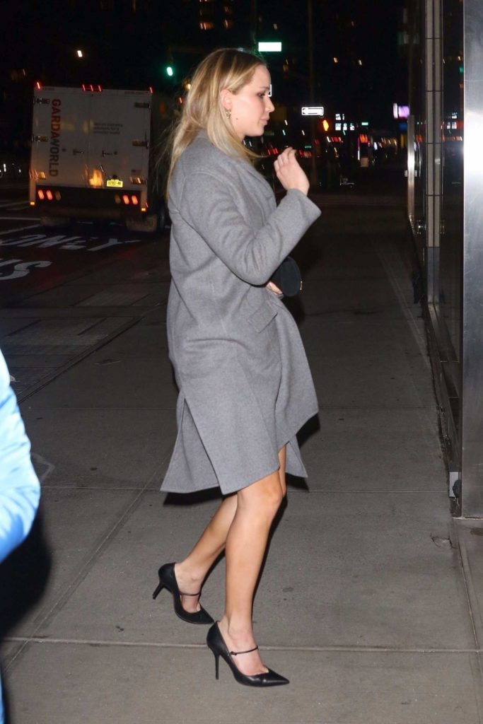 Jennifer Lawrence in a Gray Coat