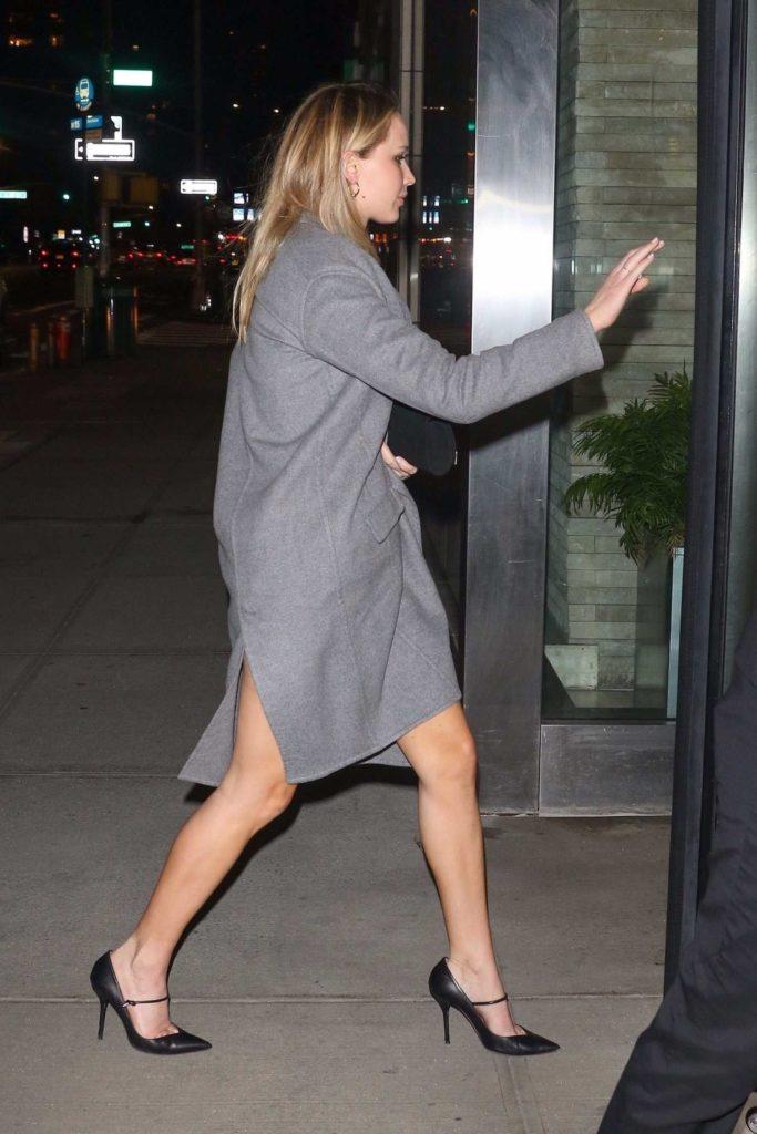 Jennifer Lawrence in a Gray Coat