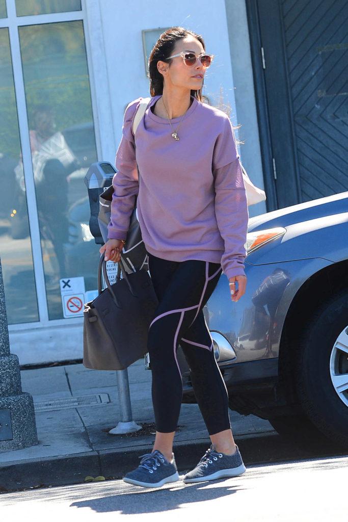 Jordana Brewster in a Purple Sweatshirt