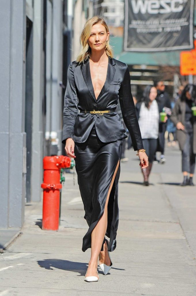 Karlie Kloss in a Black Suit