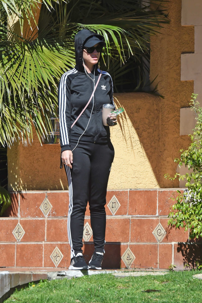 Katy Perry in a Black Adidas Track Suit