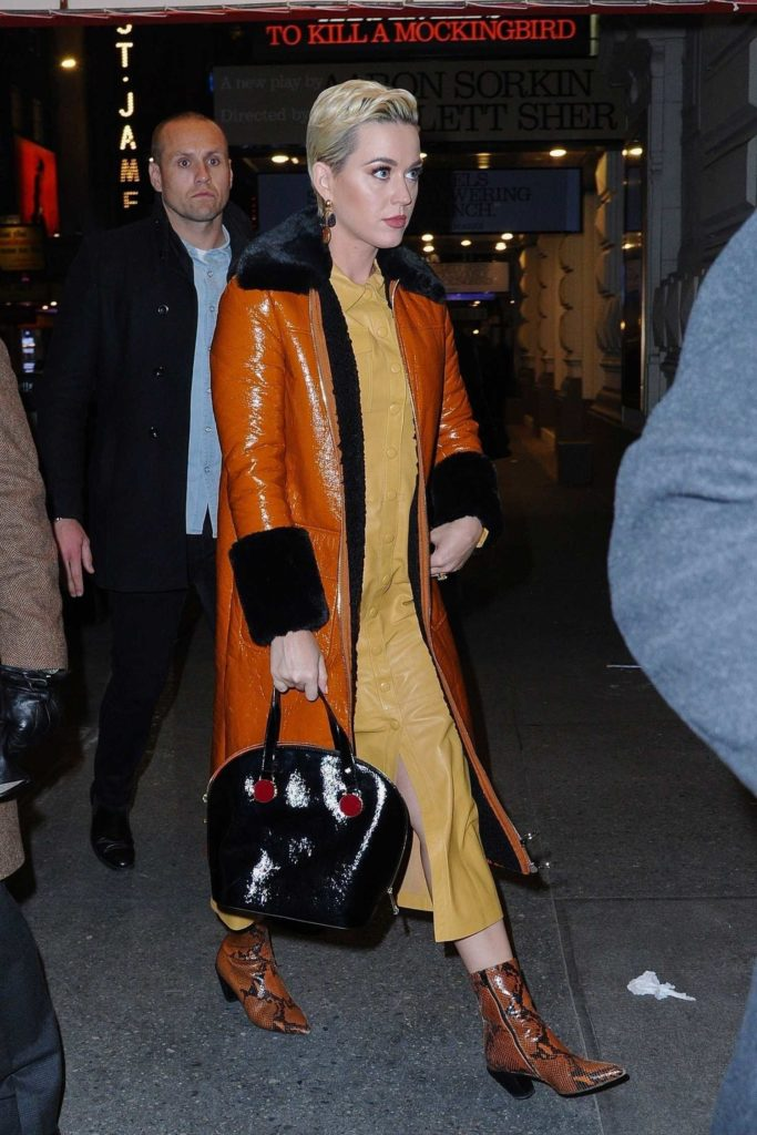 Katy Perry in an Orange Sheepskin Coat