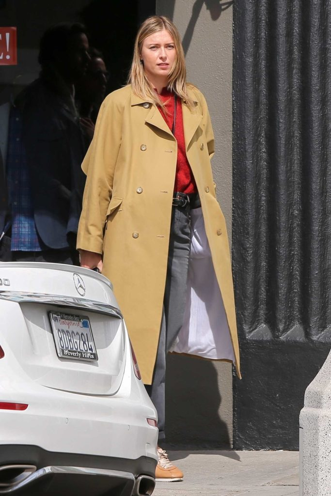 Maria Sharapova in a Beige Coat