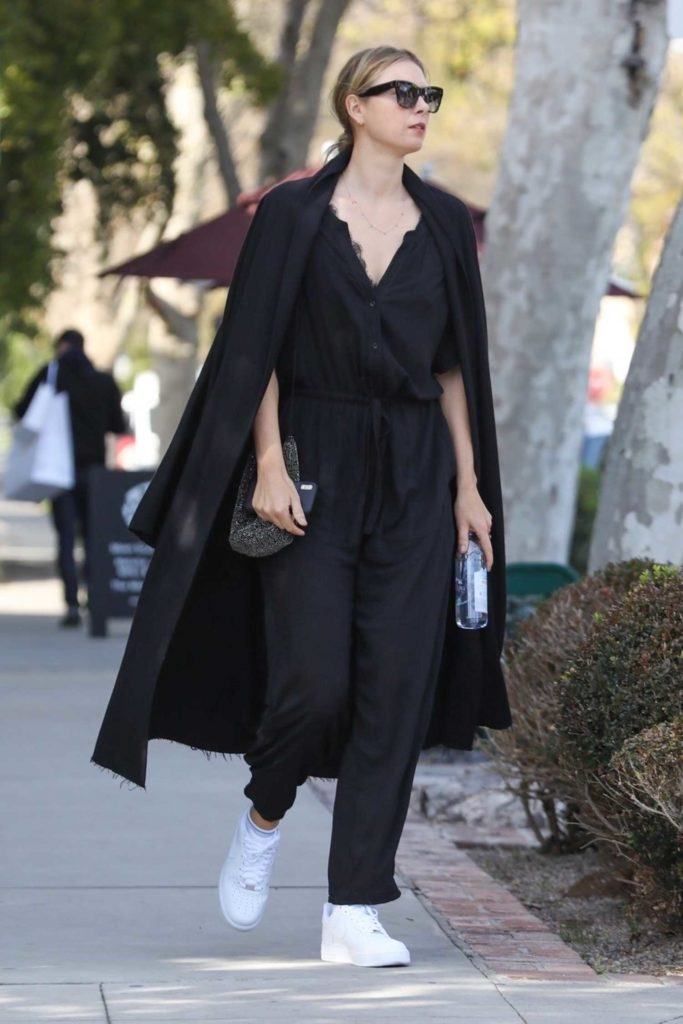 Maria Sharapova in a Black Coat