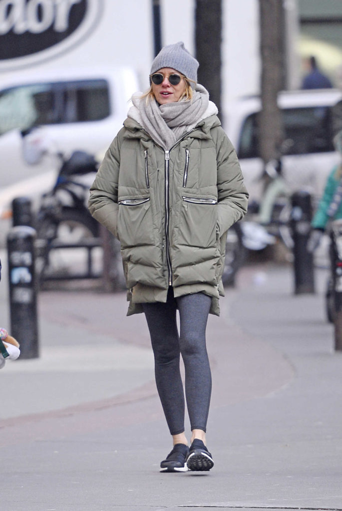 Naomi Watts in a Gray Puffer Jacket