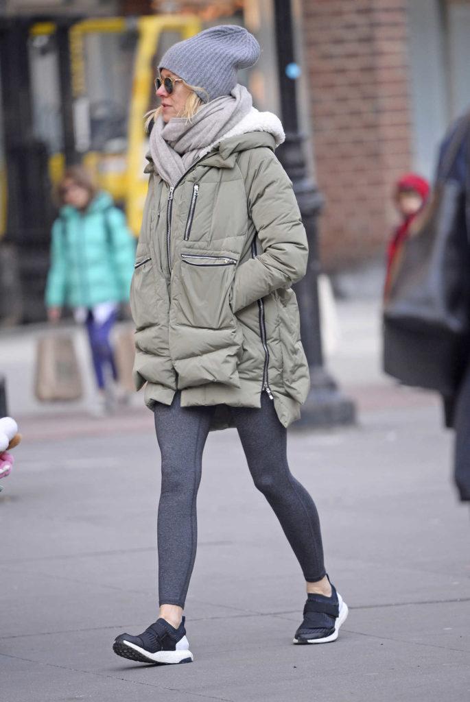 Naomi Watts in a Gray Puffer Jacket