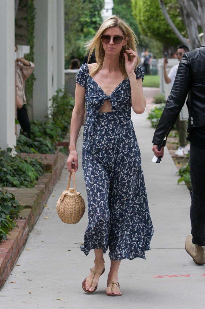 Nicky Hilton in a Long Gray Dress