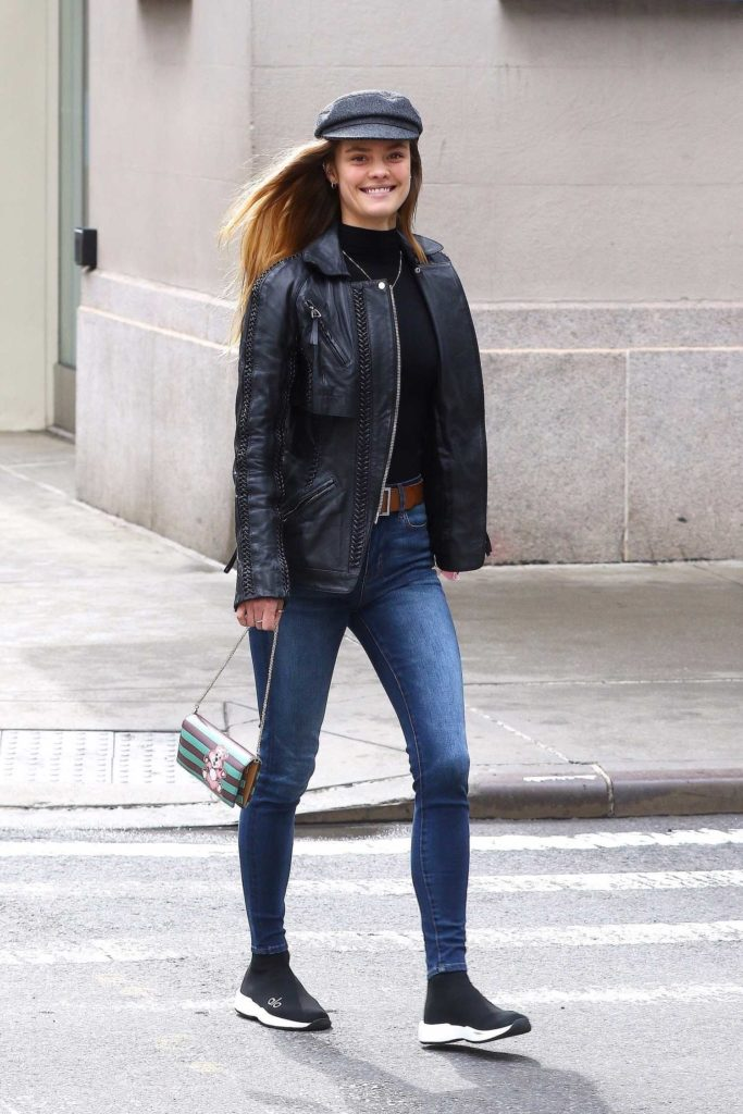 Nina Agdal in a Black Leather Jacket