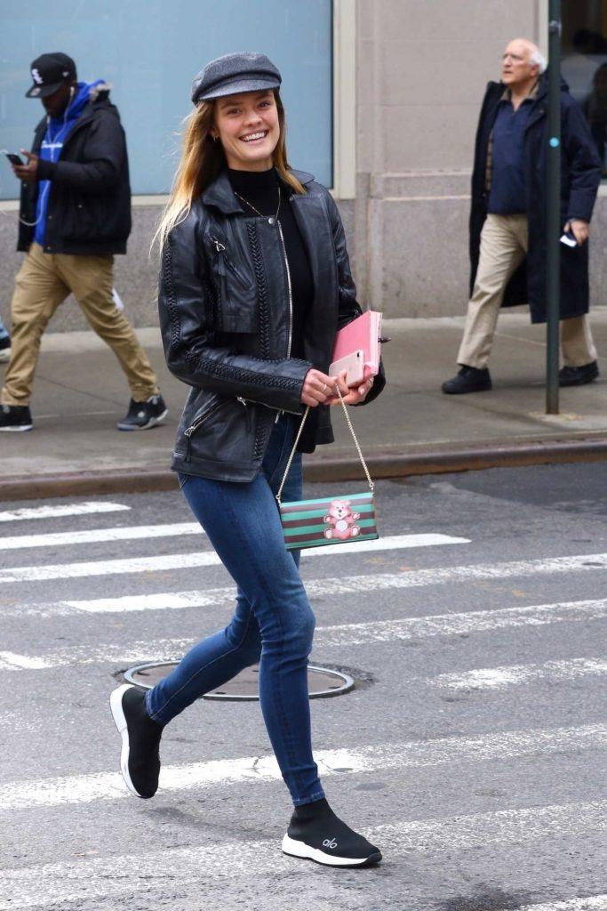 Nina Agdal in a Black Leather Jacket