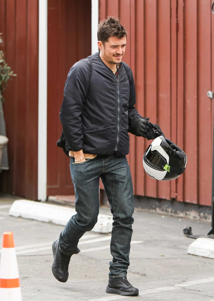 Orlando Bloom Sits on His Motorcycle Out in Los Angeles ...