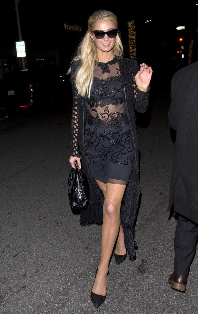 Paris Hilton in a Black Dress
