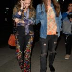 Paris Jackson in a Black Floral Print Pants Arrives Out with Gabriel Glenn to Macaulay Culkin's Podcast Show in LA