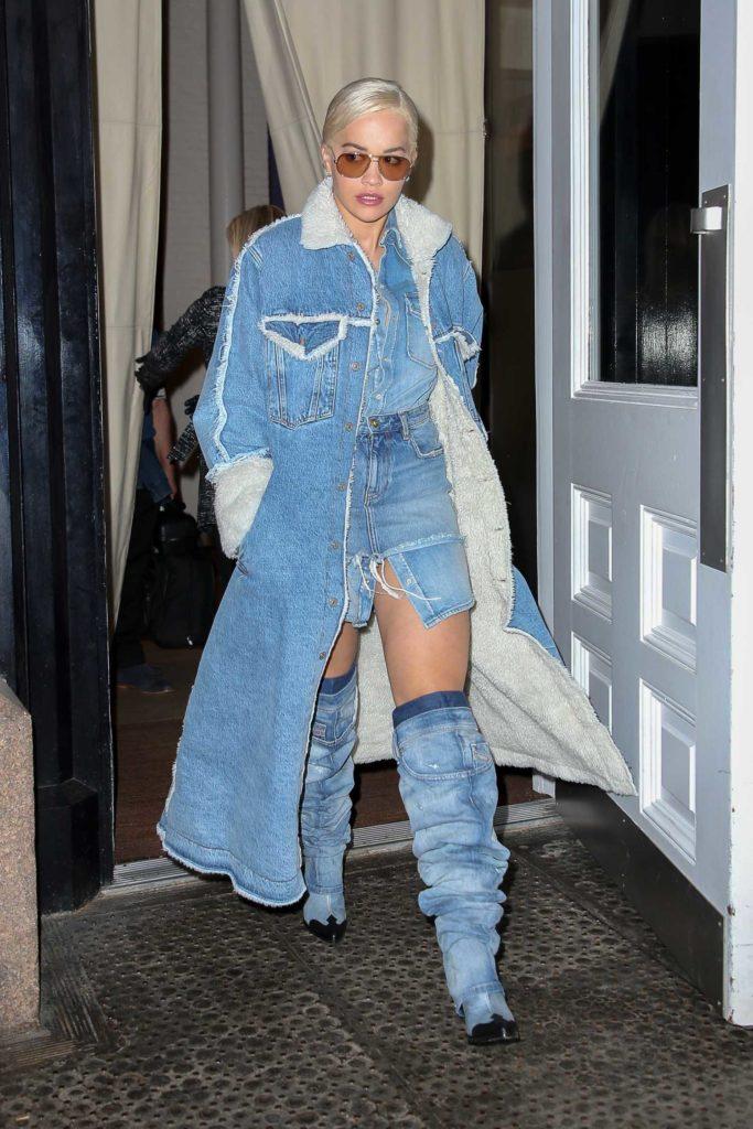 Rita Ora in a Blue Denim Coat