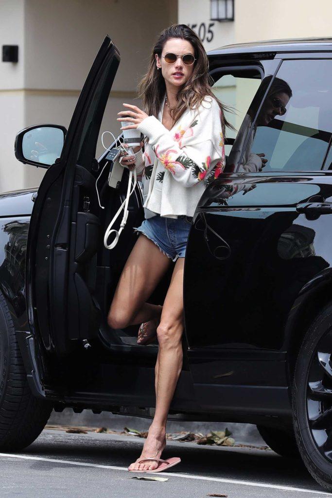 Alessandra Ambrosio in a Blue Denim Shorts