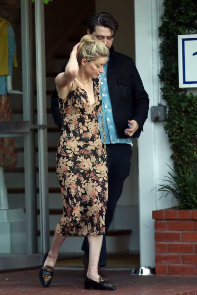 Amber Heard in a Floral Dress