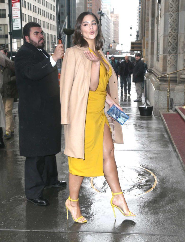Ashley Graham in a Beige Coat
