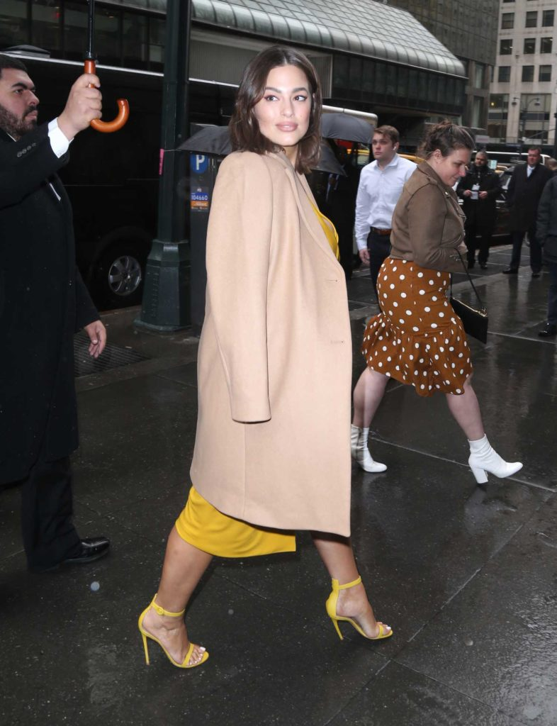 Ashley Graham in a Beige Coat