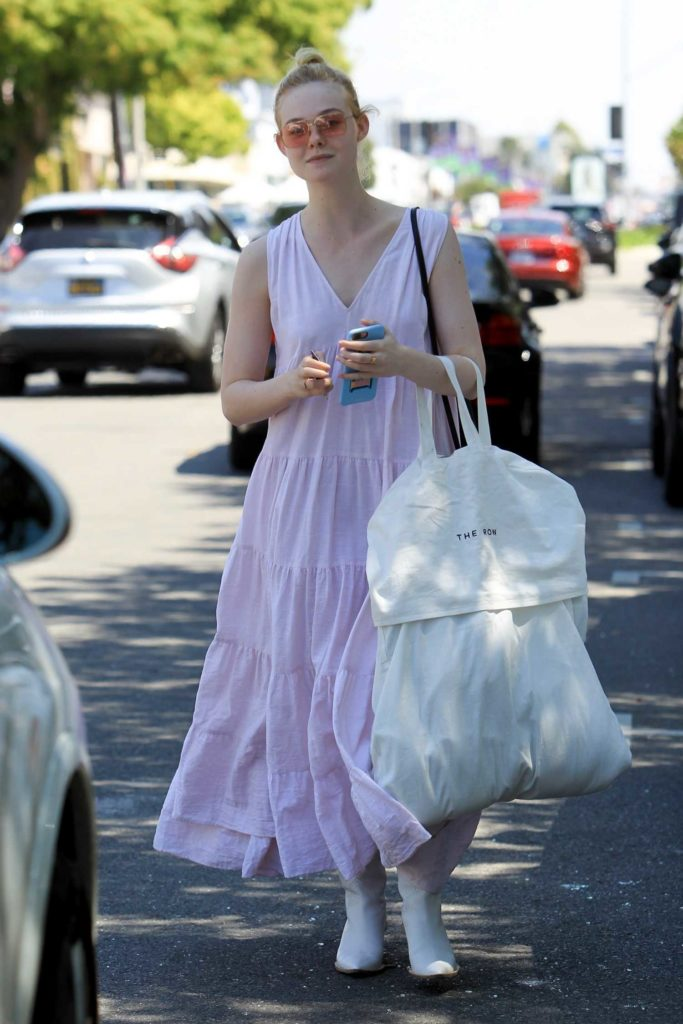 Elle Fanning in a Purple Sundress