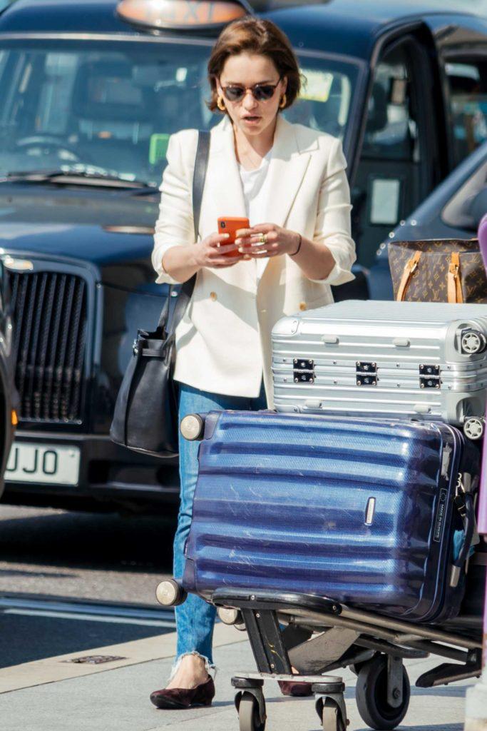 Emilia Clarke in a White Blazer