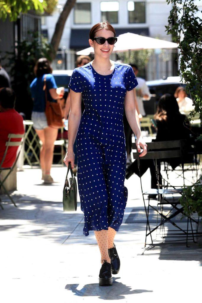 Emma Roberts in a Blue Polka Dot Dress