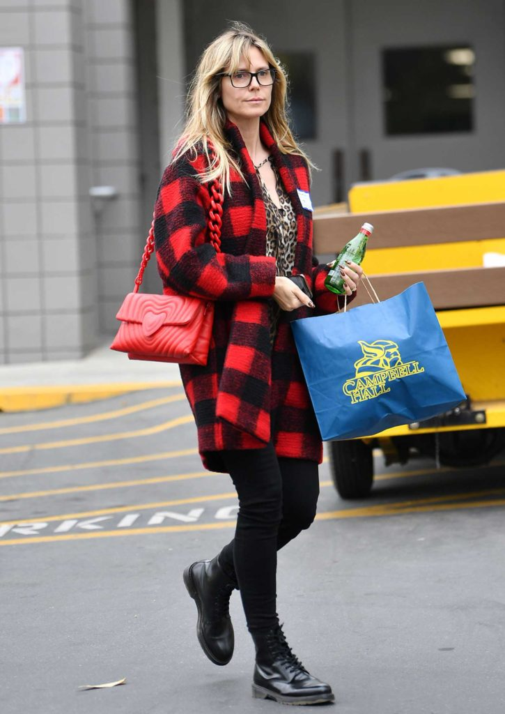 Heidi Klum in a Plaid Cardigan