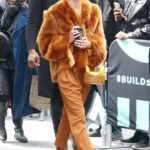 Jaime King in an Orange Fur Coat Arrives at AOL Build Studio in New York City