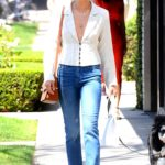 Jamie Chung in a Blue Jeans Walks Her Dog Out in West Hollywood