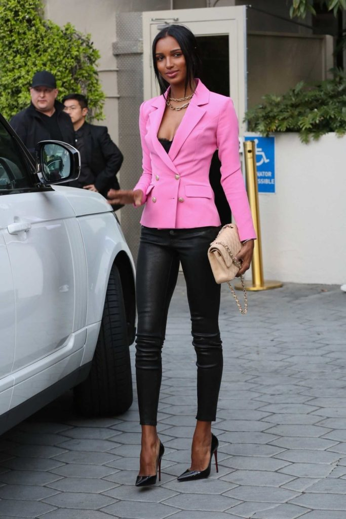 Jasmine Tookes in a Pink Blazer