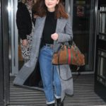 Jenna Coleman in a Gray Coat Leaves the BBC Radio 2 Studios in London
