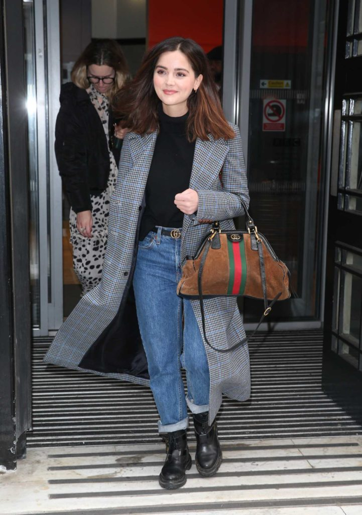 Jenna Coleman in a Gray Coat
