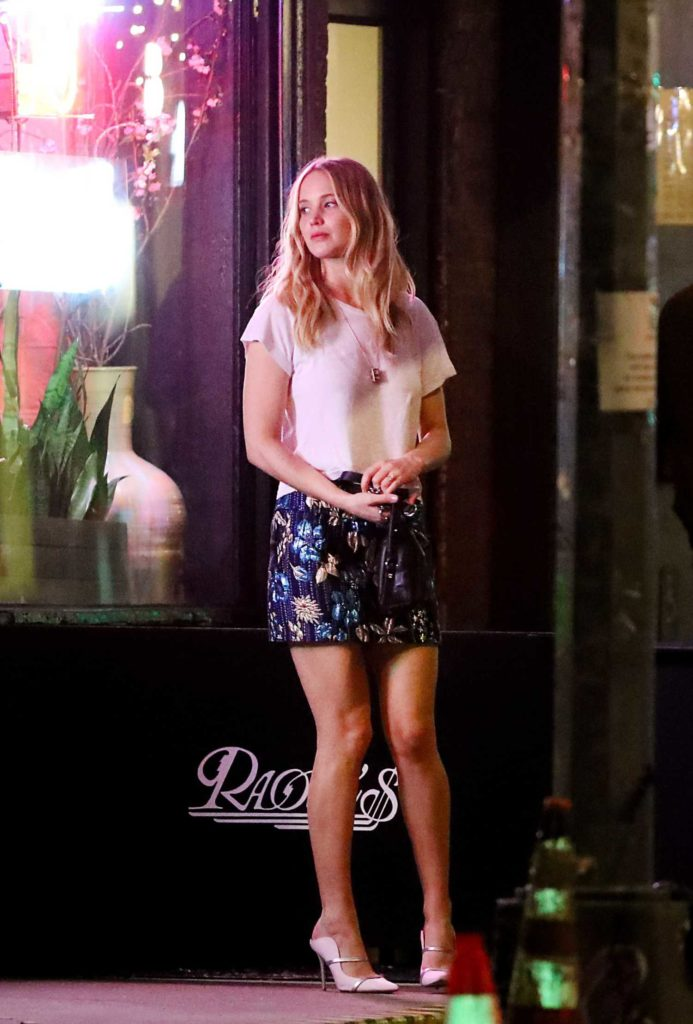 Jennifer Lawrence in a Short Floral Skirt