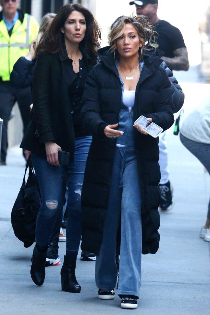 Jennifer Lopez in a Black Puffer Coat