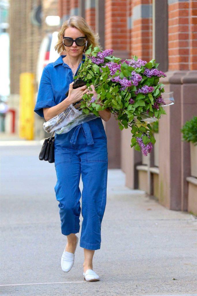 Naomi Watts in a Blue Denim Jumpsuit