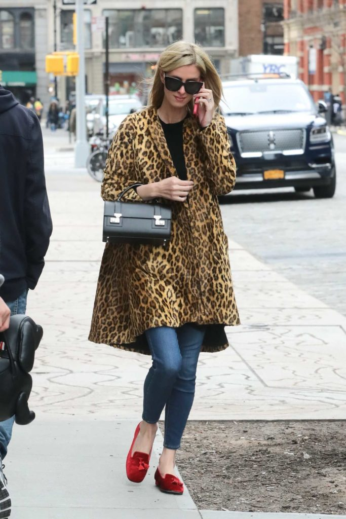 Nicky Hilton in a Leopard Print Trench Coat