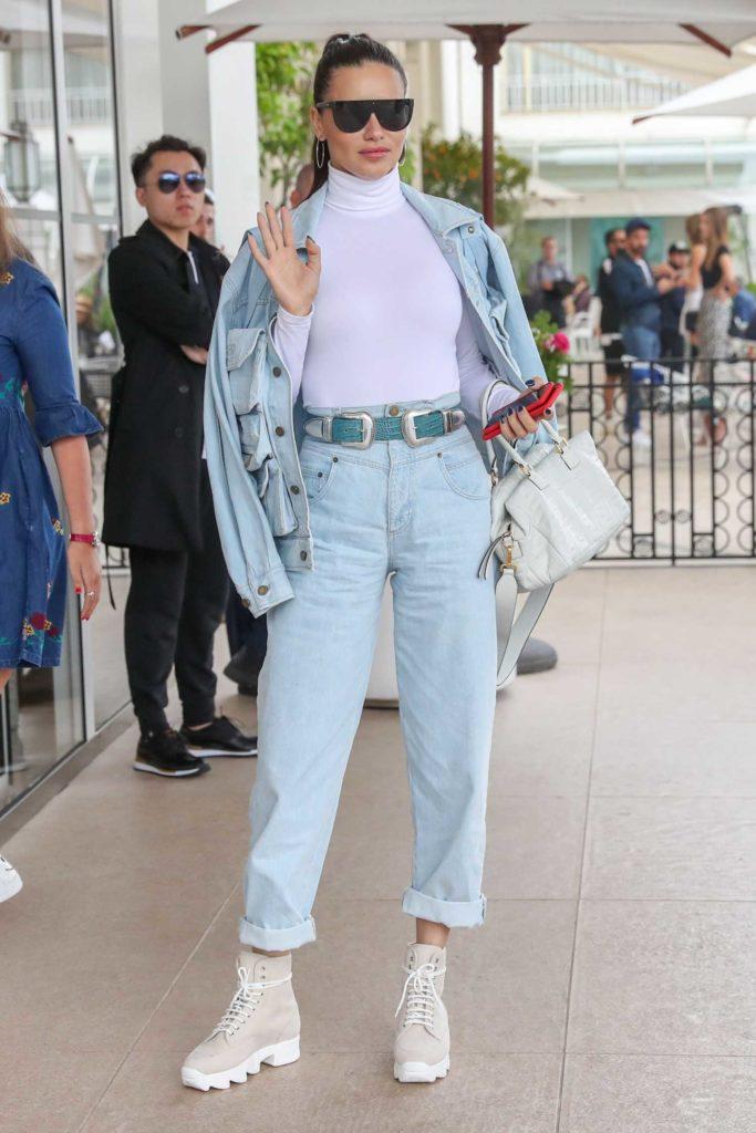 Adriana Lima in a Blue Denim Suit