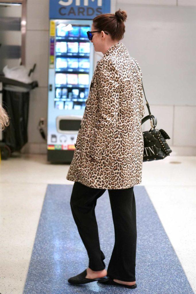 Anne Hathaway in a Leopard Print Blazer