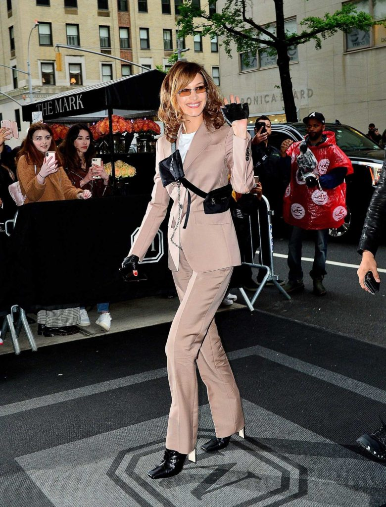 Bella Hadid in a Beige Suit