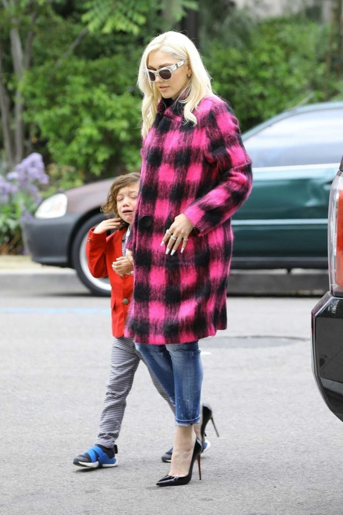Gwen Stefani in a Plaid Coat