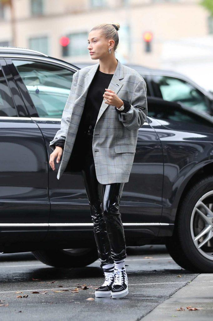 Hailey Baldwin in a Gray Blazer