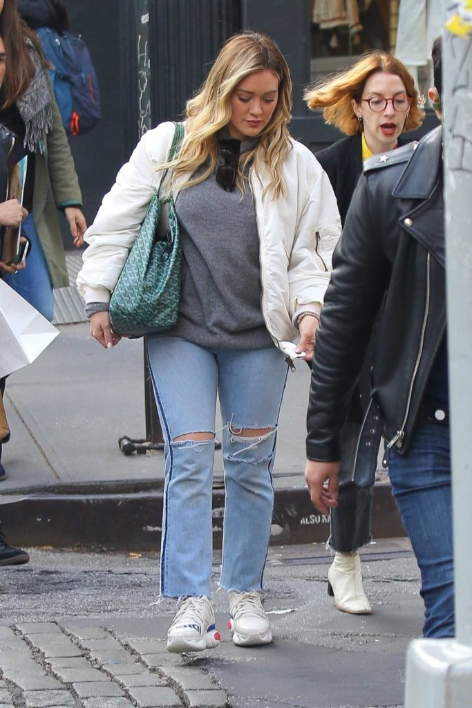 Hilary Duff in a White Bomber Jacket