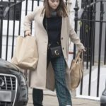 Jenna Coleman in a Beige Coat Was Seen Out in London