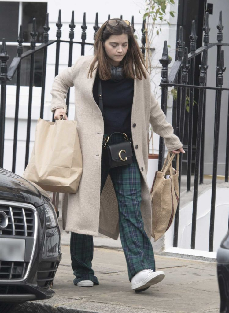 Jenna Coleman in a Beige Coat