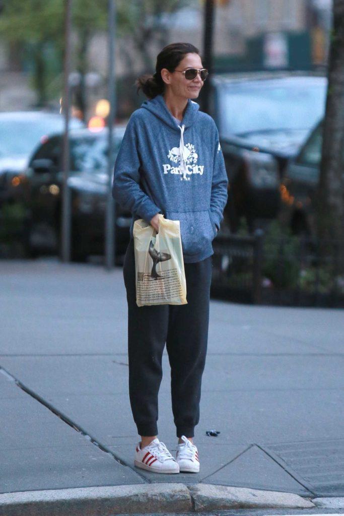 Katie Holmes in a Blue Hoody