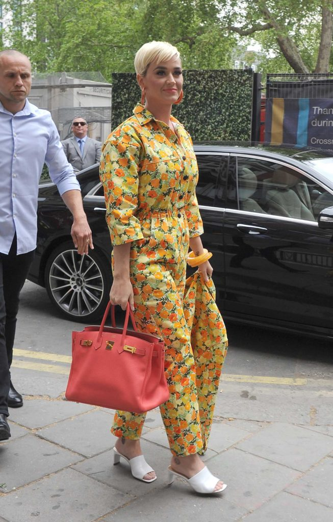 Katy Perry in a Floral Print Overalls