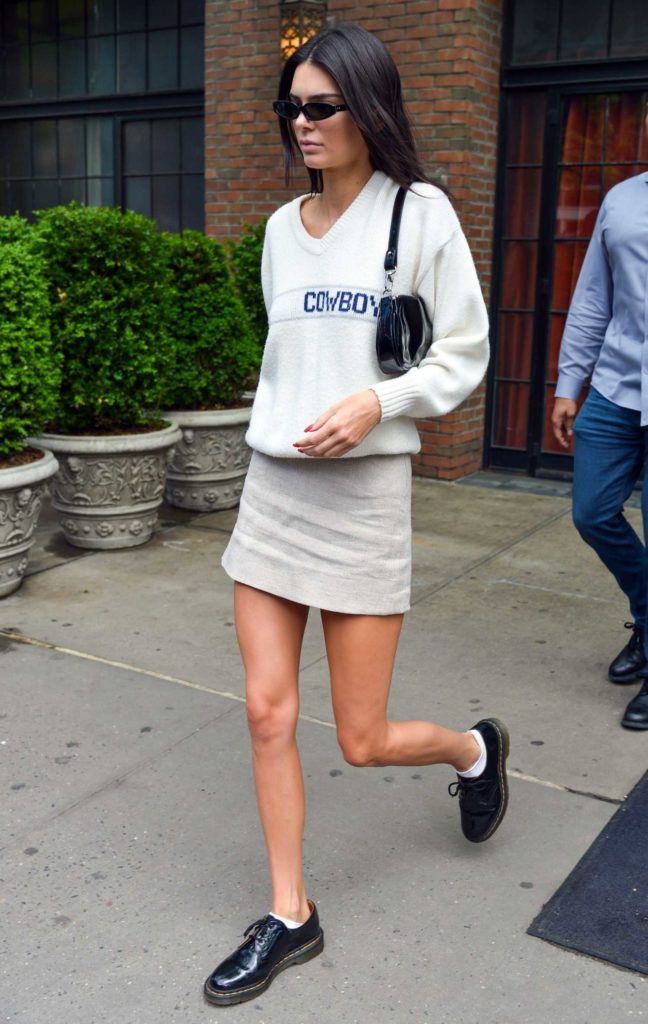 Kendall Jenner in a White Cowboys Sweater