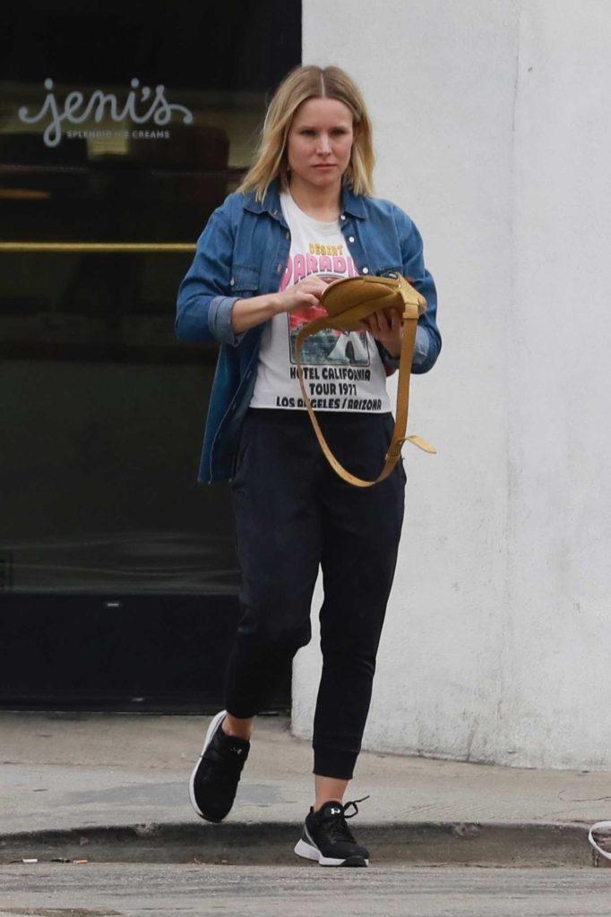 Kristen Bell in a Blue Denim Shirt