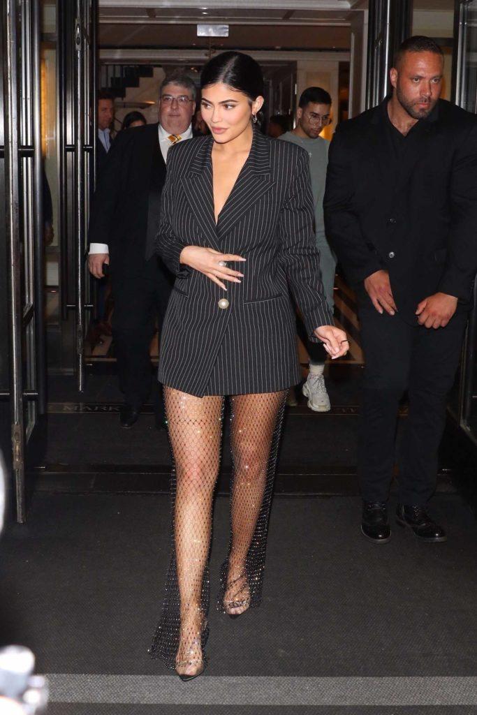 Kylie Jenner in a Shimmering Net Skirt