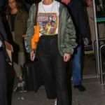 Lena Meyer-Landrut in a Green Bomber Jacket Arrives at Nice Airport in Nice